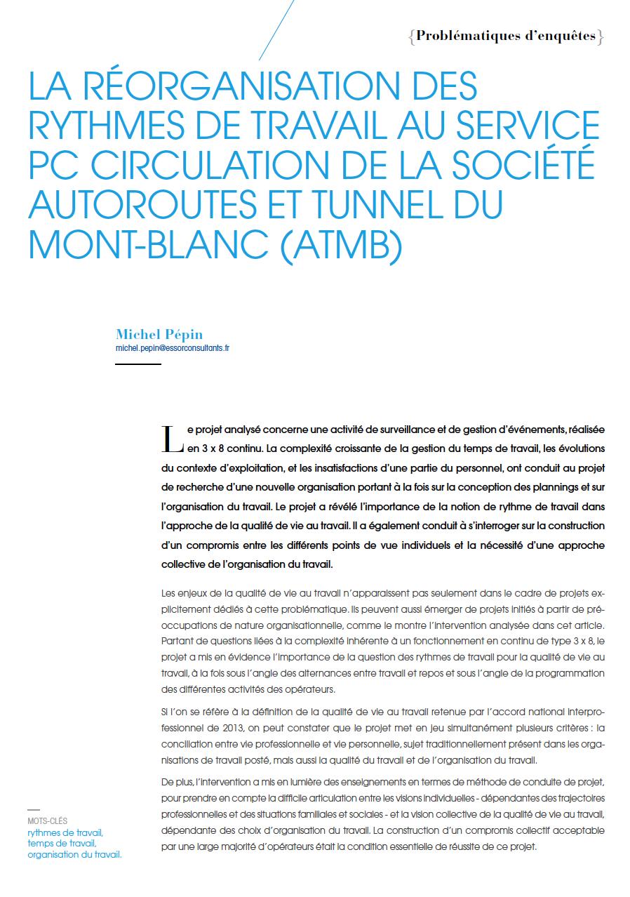 Visuel - La réorganisation des rythmes de travail au service PC circulation de la société Autoroutes et Tunnel du Mont-Blanc (ATMB)