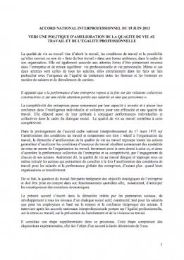 Visuel - Accord national interprofessionnel sur la qualité de vie au travail