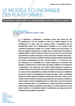 Vignette document Le  modèle économique des plateformes : économie collaborative ou réorganisation des chaînes de valeur ?
