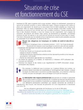 Situation de crise et fonctionnement du CSE