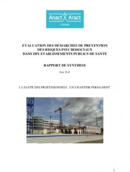 Évaluation des demarches de prevention des risques psychosociaux dans dix etablissements publics de sante. Rapport de synthèse